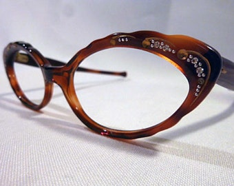 Amber Tortoise Shell Eyeglasses, Vintage 1950s Brown Eyeglass Frames, Cateye Glasses, New Old Stock with Rhineston Temples