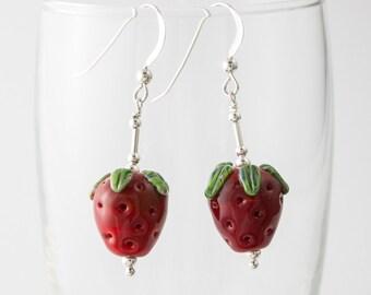 Strawberry Lampwork Earrings