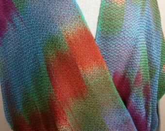 Hand Woven Hand Dyed Moby Q Shawl