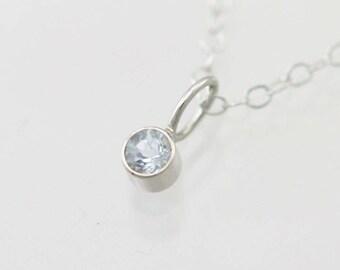 "Aquamarine Drop Necklace in 14k White Gold (16"")"