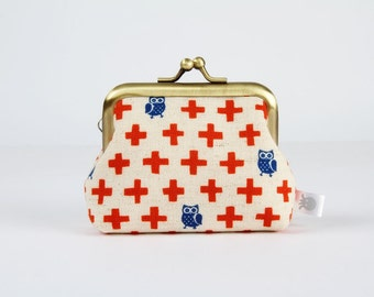 Metal frame change purse - Plus and owls in red and blue - Big mum / Kawaii japanese fabric / red cross / blue birds