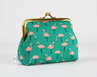 Metal frame coin purse - Little flamingo on green - Deep dad / Kawaii fabric / Coral pink bird / Neon orange peach pink / Green