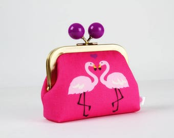 Metal frame coin purse with color bobble - Flamingos in love on pink - Color dad / Japanese fabric / cobalt neon pink purple