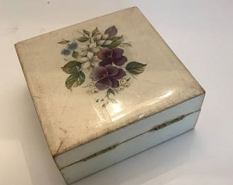 Small Floral Painted Wooden Box