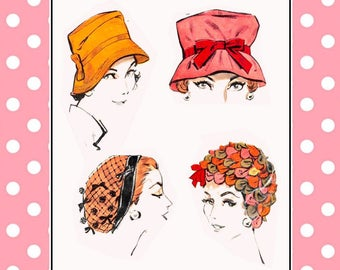 Vintage 1959-HAT COLLECTION-Sewing Pattern-Five Styles-Evening Snood-Audrey Hepburn Style Fedora-Petal-Ribbon Wig Hat-Size 22-Rare