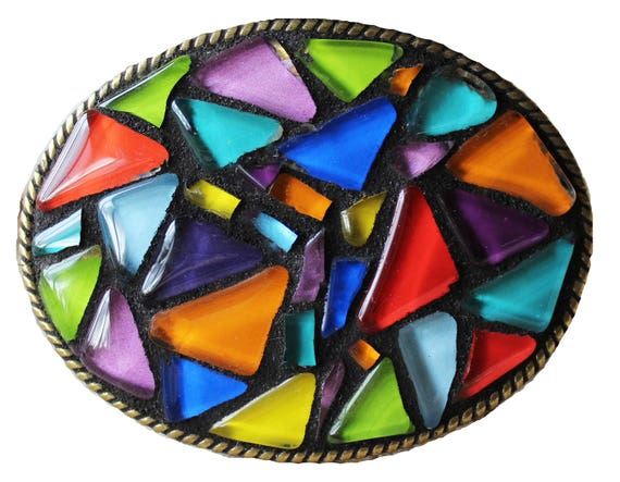 Unisex Abstract Mosaic Glass Belt Buckle