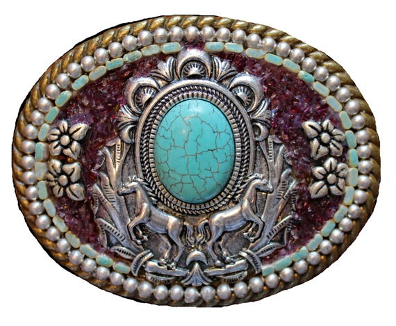 Western Horse and Faux Turquoise Belt Buckle with Genuine Garnet