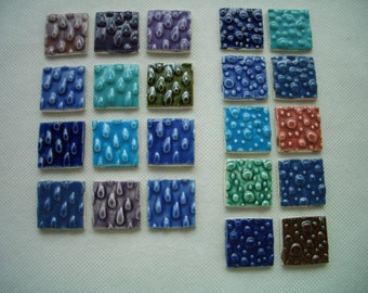 22WD - COLORFUL WATER Drops, Bubbles Squares - Ceramic Mosaic Tiles