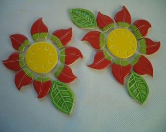 POP12 - RED FLOWERS, Leaves  - Ceramic Mosaic Tiles