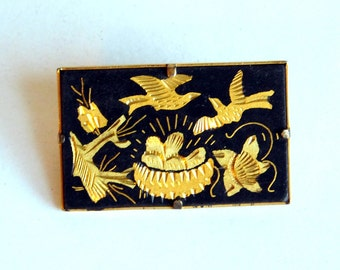 Vintage Spanish Damascene Brooch with Renaissance-Style Birds, Flowers and Nest w/ Eggs - Black and Goldtone Pin - Mid-Century Damascene Pin