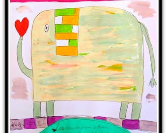 Happy Elephant Folk Art Happy Art Kids Art 9x12 Acrylic on Watercolor Paper Original Nursery Art Fun Art