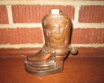 Vintage 1950s Roy Rogers Figural Cowboy Boot Metal Bank