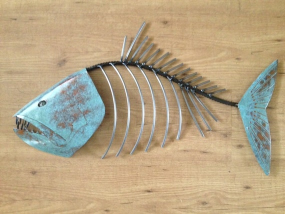 Fish Sculpture 24in long Tropical Coastal Beach  Metal  Wall Art Fish