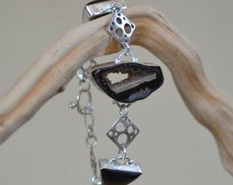 Agate Silver Bracelet. CLEARANCE. Sterling Silver Bracelet. Silversmith. Geode Agate - Black Obsidian Geometric Bracelet. Fine Jewelry.