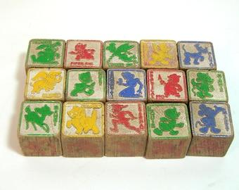 Vintage Disney Wood Alphabet Blocks, Fifteen Wood Blocks