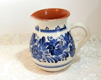 Blue and White European Pottery Pitcher