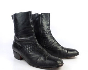 Boots Ankle Vintage 1970s Givenchy Short Black Leather Euro Beatle Men's size 27 1/2