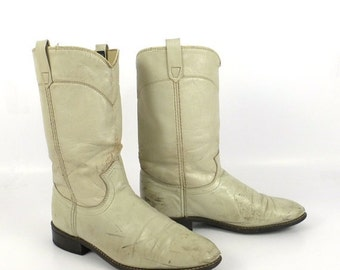 White Cowboy Boots Vintage 1980s Acme Cream Off Roper Distressed Women's size 7 1/2
