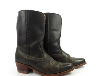Dexter Cowboy Boots Vintage 1970s Western Brown Leather Men's size 9