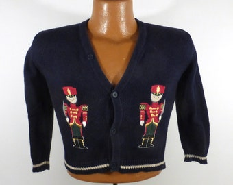 Ugly Christmas Sweater Vintage Kid's Toddler Nutcracker Tacky Holiday Cardigan L
