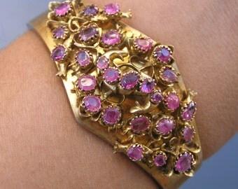 WIDE Antique bangle . Bracelet . Sri lanka Ruby Sterling silver jewelry ~ RARE