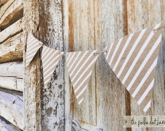 white stripe burlap pennant banner for parties and weddings