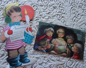 Vintage Norcross Boy Caroler Stand Up Card Plus Vintage Card from Spain Cutest Song Birds Ever!