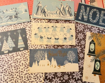 Angels Wise Men and Sleighs in Blue Featured in 5 Salesman Sample Cards Plus 2 Similar in Vintage Christmas Card Lot No 1086