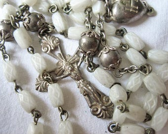 Antique French rosary, antique glass rosary, silver beads rosary, French chaplet, Antique glass chaplet, antique heart rosary