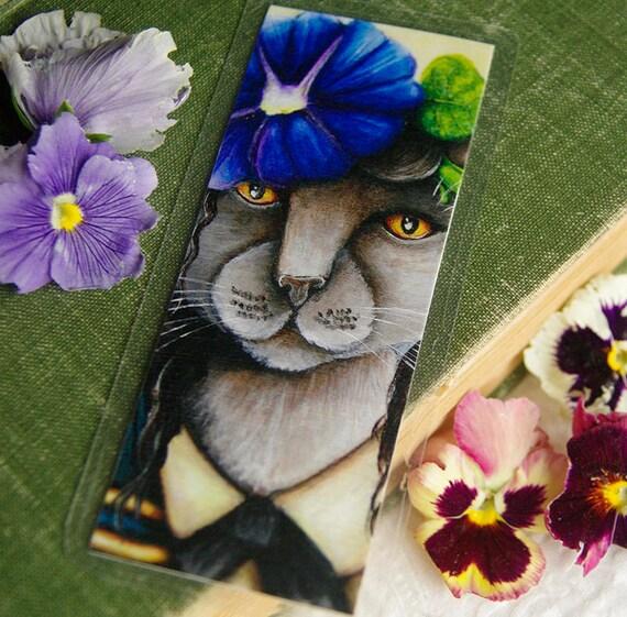 Russian Blue Cat Bookmark, Morning Glory Flower Cat Art Bookmark