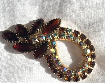 Vintage Brooch or Pin with Aurora Borealis Rhinestones