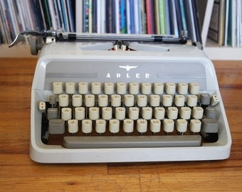 Mid Century Adler J3 Typewriter with RARE Elite Cubic Typeface, Case, Original Instructions, & NEW Ribbon!