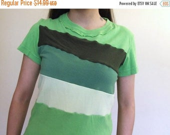 15% OFF SALE Color Block T-shirt - Handmade Ladies Size Small Greens Recycled Upcycled