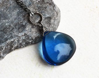 "London Blue Quartz Necklace, Oxidized Sterling Silver - ""Droplet"" by CircesHouse on Etsy"