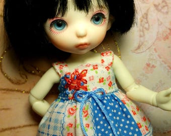 Red and Blue Floral Outfit for Fairyland Pukifee bjd abjd Lati Yellow