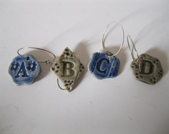 Letter wine charms
