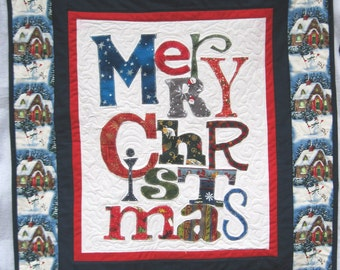 Merry Christmas Quilted Wall hanging Wall art holiday decoration Quiltsy  handmade