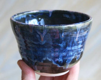 Dark Blue Yunomi Cup Handcrafted Stoneware Teacup Ceramic Pottery Ready to Ship Made in USA