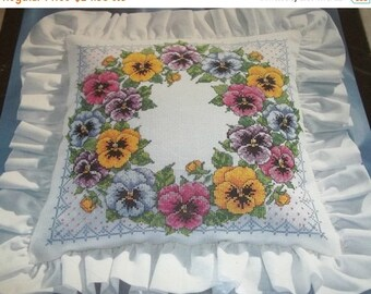 ON SALE Vintage 1994 Bucilla Counted Cross Stitch Kit Pansy Wreath Pillow