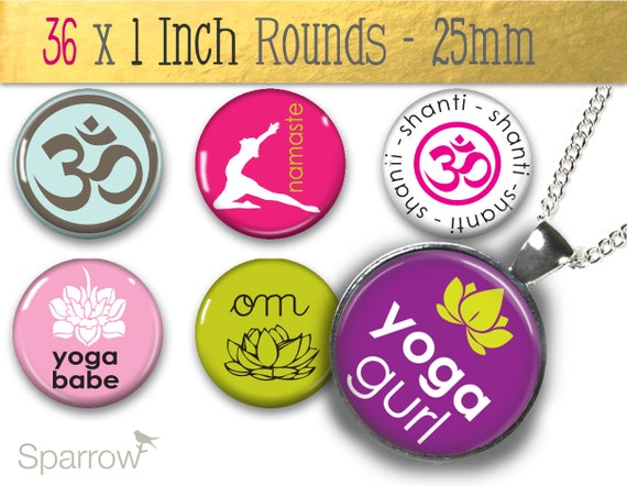 Yoga Girl Collage Sheet - (1x1) One Inch (25mm) Round Pendant Images - Glass Rounds - Magnets or Stickers - Digital Sheet - Buy 2 get 1 Free