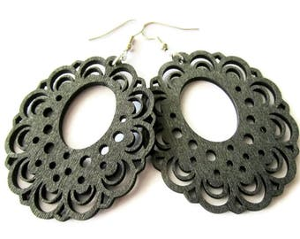 Black Lace Edged Wooden Earrings   Hippie Boho Gypsy Style Lightweight Earrings for Women   Large Statement Jewelry   Gift for Her