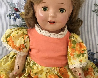 "22"" Vintage Antique Composition & Cloth Sleepy Eye Girl Doll Blue Eyes With Teeth"