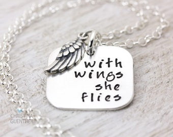 Angel Wing Necklace | Guardian Angel | Wings | Memorial Jewelry | Personalized Stamped Sterling Silver | Christina Guenther