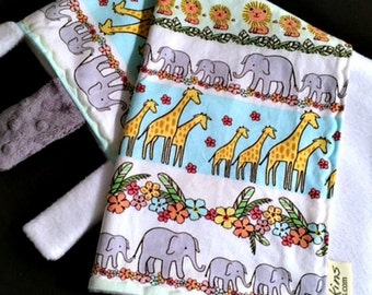 Elephant, Lion and Giraffe Go For A Walk - Security Blanket and Burp Cloths