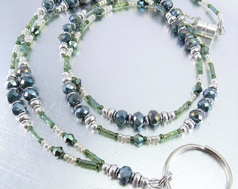 Faceted Dark Green Crystal Glass Beaded ID Lanyard, Badge Holder, ID Badge Necklace