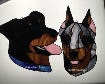 Beauceron Suncatcher in Stained Glass