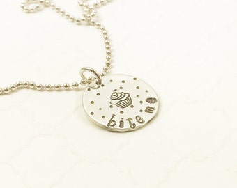 Bite Me Necklace - Cute Baker Jewelry - Cupcake Necklace - Snarky Jewelry - Sarcastic Jewelry - Hand Stamped Necklace - Silver Necklace