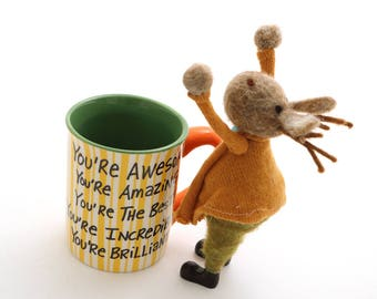 Positive affirmation mug with cheering moose - large 16 oz mug - special edition limited quantities