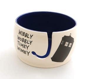 Doctor Who Yarn Bowl,  Tardis , large yarn bowl , ceramic yarn bowl, wibbly wobbly timey wimey , crochet supplies , knitting gift