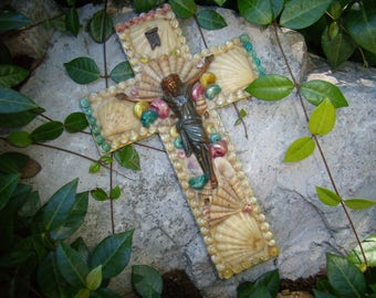 Vintage Folk Art Cross with Corpus